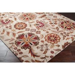 Hand-tufted Beige Borzoi Floral Wool Rug (4' x 6') - Thumbnail 1