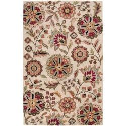 Hand-tufted Beige Borzoi Floral Wool Area Rug (4' x 6') - Thumbnail 0
