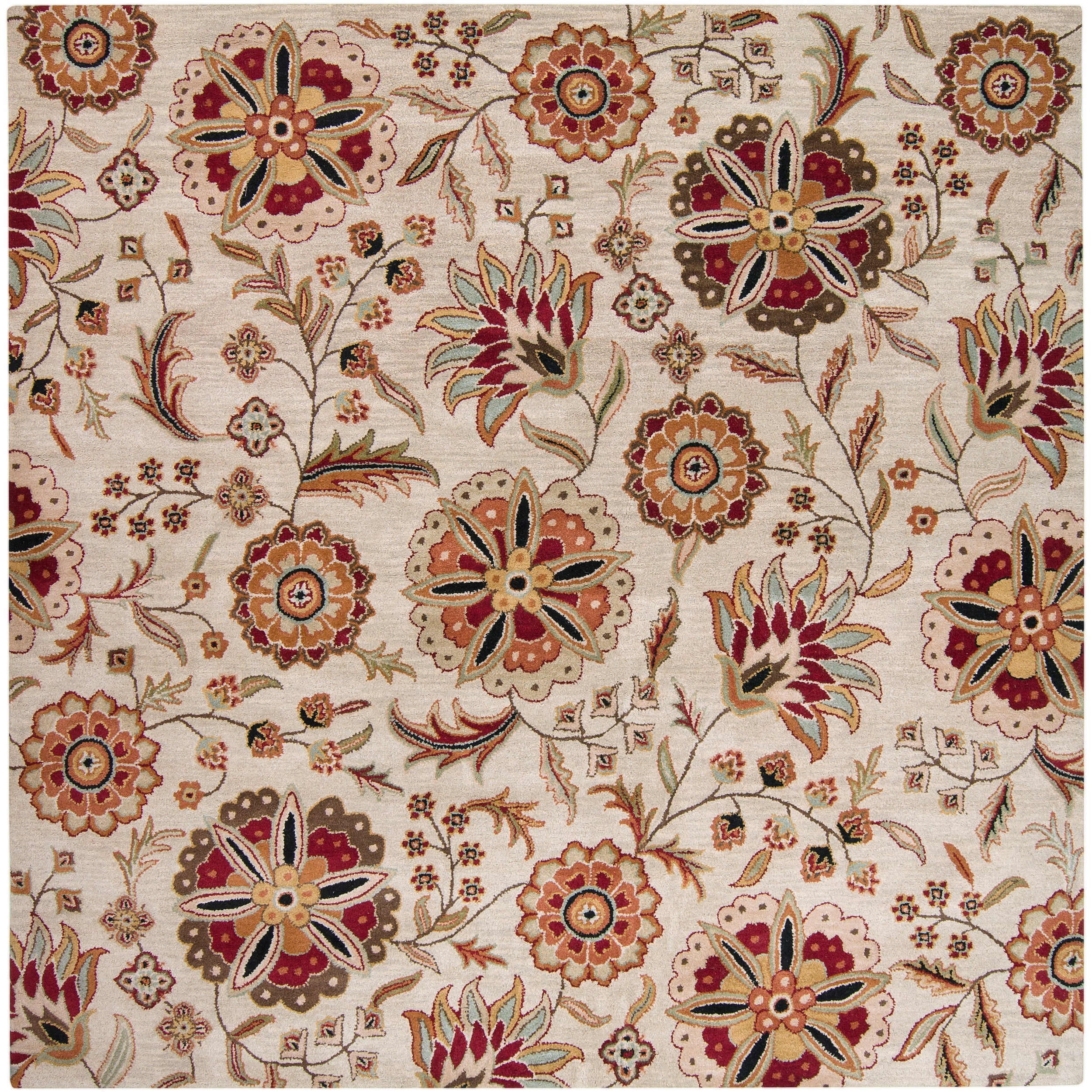 Hand-tufted Beige Borzoi Floral Wool Rug (6' Square)