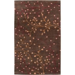 Hand-tufted Brown Briard Wool Rug (4' x 6')