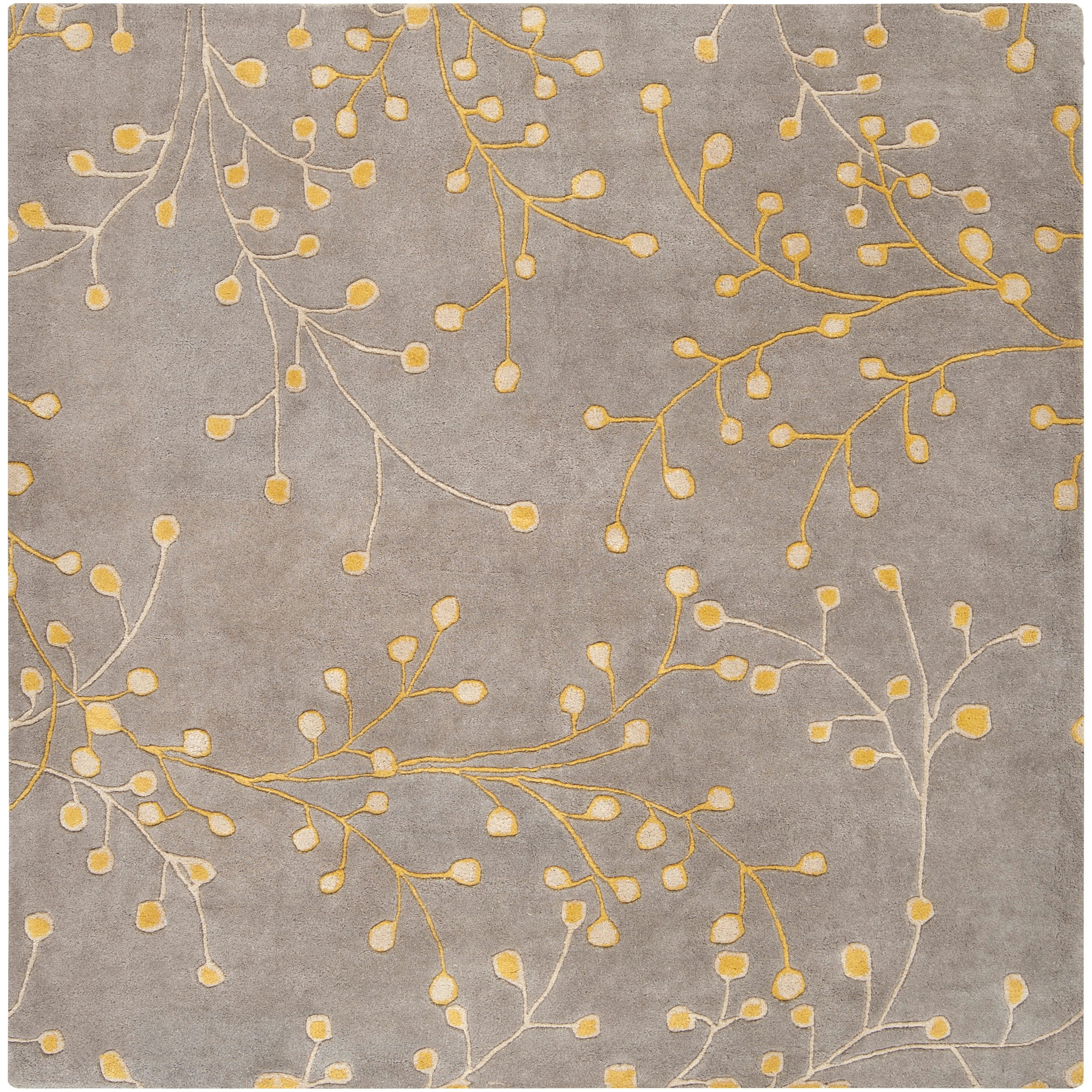 Hand Tufted Gray Chinook Floral Wool Area Rug 4 Square