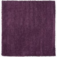 Hand-woven Purple Birks Colorful Plush Shag New Zealand Felted Wool Area Rug - 8' x 8'