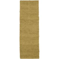 Hand-woven Gold Blancher Colorful Plush Shag New Zealand Felted Wool Rug (2'6 x 8')