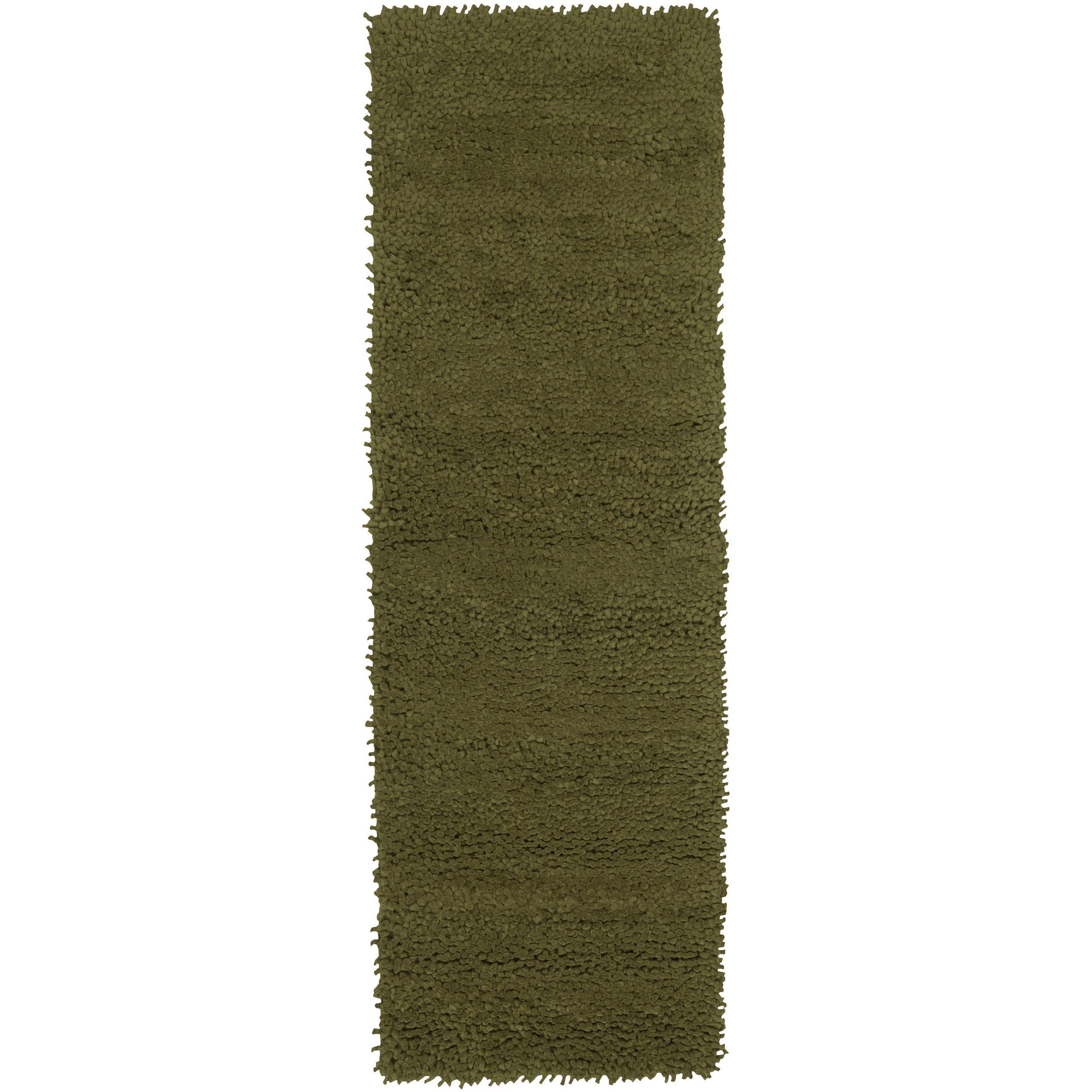 Hand-woven Green Boegli Colorful Plush Shag New Zealand Felted Wool Rug (2'6 x 8')
