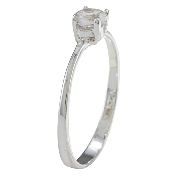 Gioelli Sterling Silver Cubic Zirconia Solitaire Baby Ring