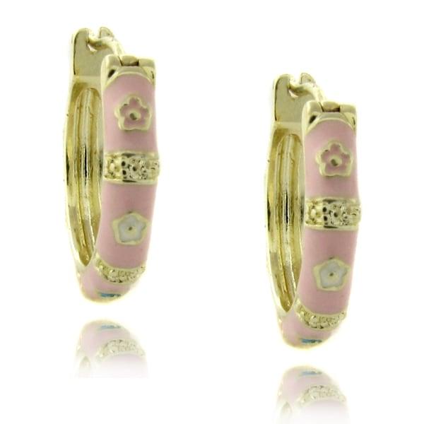 Molly and Emma 14k Gold Overlay Pink Enamel Flower Design Children's Hoop Earrings