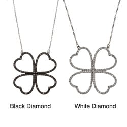 Victoria Kay Sterling Silver 1/10ct TDW Diamond 4-leaf Clover Necklace (J-K, I2-I3)