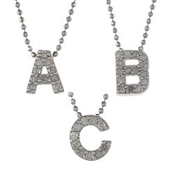 Victoria Kay Sterling Silver 1/10ct TDW White Diamond Initial Necklace (J-K, I2-I3) (More options available)