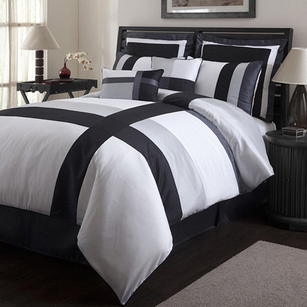 decor iman white black 8 piece california king size comforter set