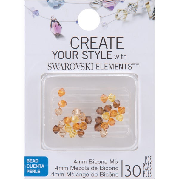 Jolee's Jewels 4mm Topaz Mix Bicone Beads (Pack of 30)