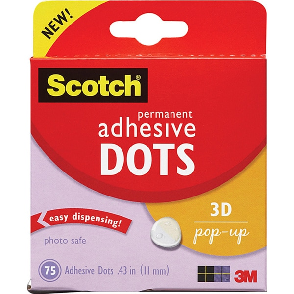 Scotch 3M 3D Pop-up Adhesive Dots (Pack of 75)