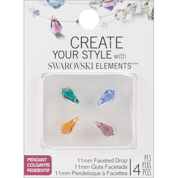 Jolee's Jewels 11mm Blue/ Emerald/ Topaz/ Violet Mix Briolette Faceted Drop Beads