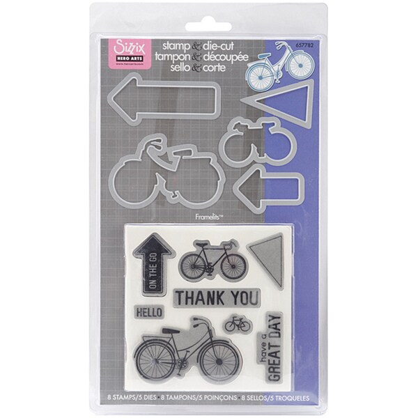 Sizzix Framelits Dies 5/Pkg With Clear Stamps-Bicycle