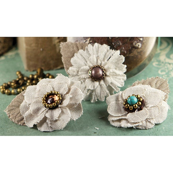 Prima 'Flaxence' Embellished Fabric Flowers (Pack of 3)