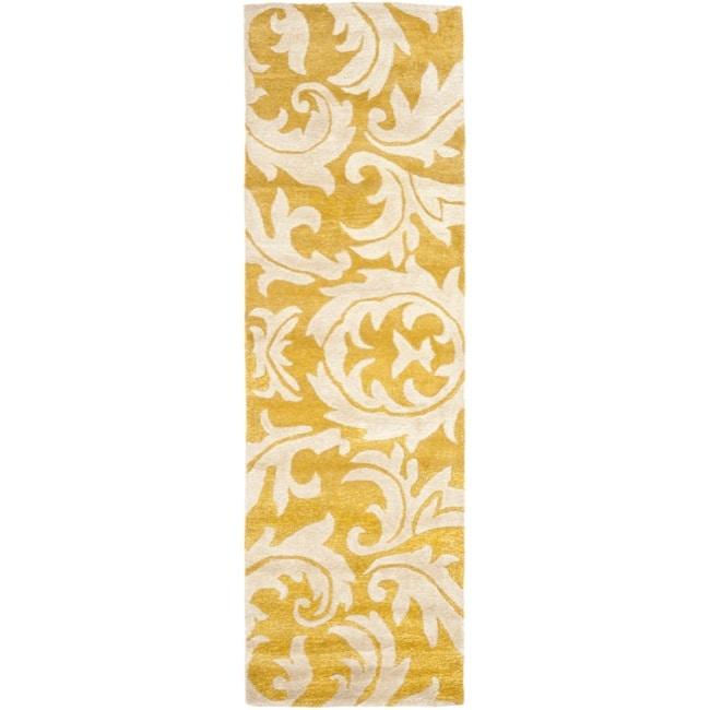 Safavieh Handmade Soho Gold/ Ivory New Zealand Wool Rug (2'6 x 6')