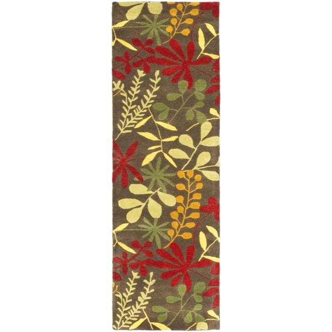"Safavieh Handmade Soho Brown/Multi Floral-Print New Zealand Wool Rug (2'6"" x 12')"