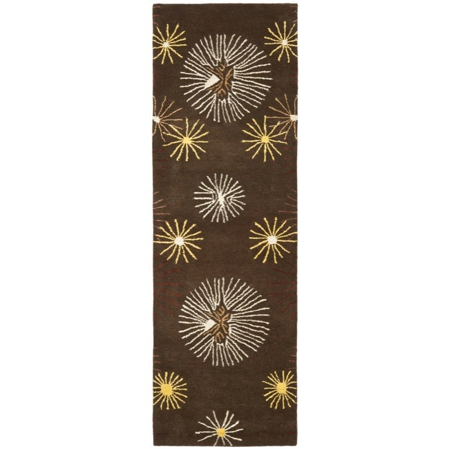 Safavieh Handmade Soho Voyage Brown/ Multi N. Z. Wool Rug (2'6 x 12')