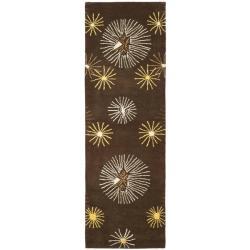 Safavieh Handmade Soho Voyage Brown/ Multi N. Z. Wool Rug - 2'6 x 12' - Thumbnail 0