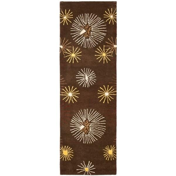 """Safavieh Handmade Soho Voyage Brown/ Multi N. Z. Wool Rug - 2'6"""" x 12'"""