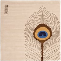 Safavieh Handmade Soho Peacock Feather Beige N. Z. Wool Rug - 6' x 6' Square