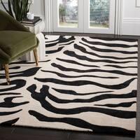 Safavieh Handmade Soho Zebra Beige/ Black New Zealand Wool Rug - 5' x 8'