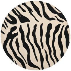 Safavieh Handmade Soho Zebra Beige/ Black New Zealand Wool Rug (6' Round)