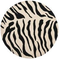 Safavieh Handmade Soho Zebra Beige/ Black New Zealand Wool Rug - 6' x 6' Round