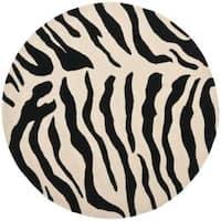 Safavieh Handmade Soho Zebra Beige/ Black New Zealand Wool Rug (6' Round) - 6'