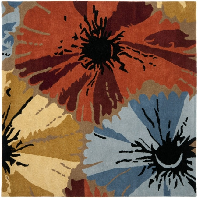Safavieh Handmade Soho Floral Brown New Zealand Wool Rug (6' Square)