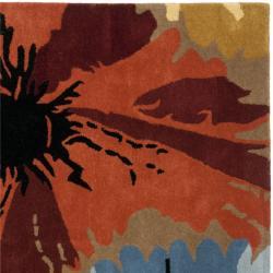 Safavieh Handmade Soho Floral Brown New Zealand Wool Rug (6' Square) - Thumbnail 1