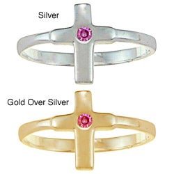 Gioelli Gold over Silver/ Sterling Silver Pink CZ Cross Baby Ring