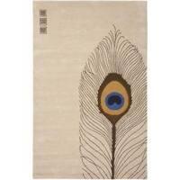 Safavieh Handmade Soho Peacock Feather Beige N. Z. Wool Rug - 7'6 x 9'6