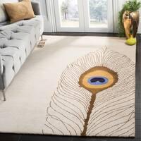 """Safavieh Handmade Soho Peacock Feather Beige N. Z. Wool Rug - 3'6"""" x 5'6"""""""