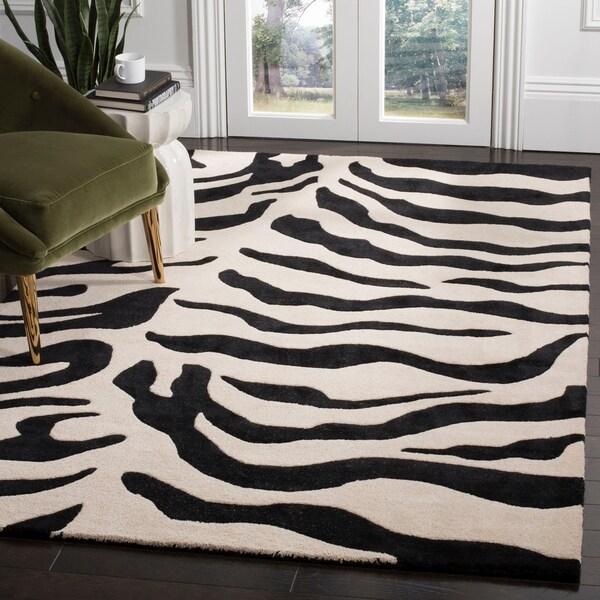 "Safavieh Handmade Soho Zebra Beige/ Black New Zealand Wool Rug - 7'6"" x 9'6"""