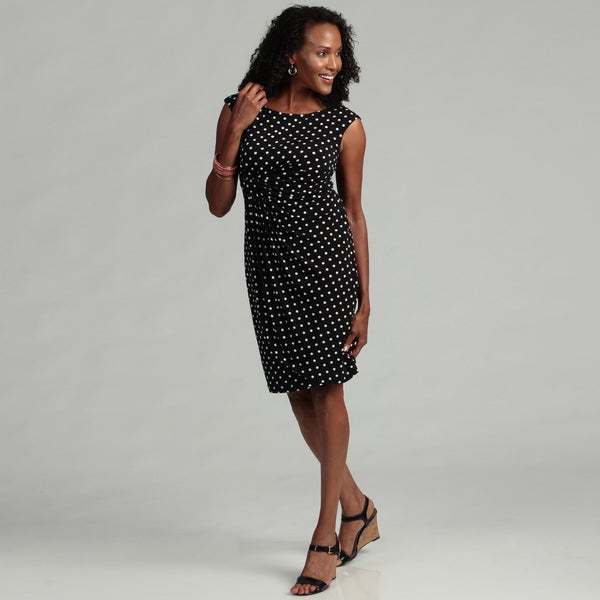 Connected Apparel Women's Black/ White Polka-dot Dress
