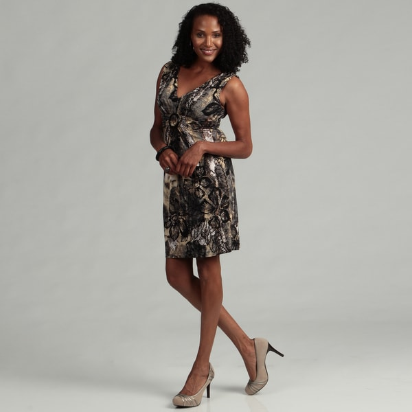 Connected Apparel Women's Grey Ring Front Dress