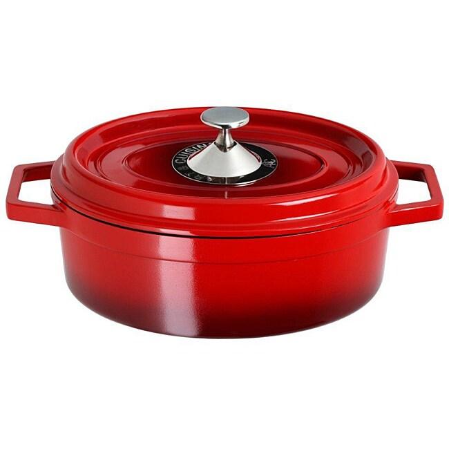 Art & Cuisine Cocotte Red 3.8-quart Cast Aluminum Oval Roaster Pan