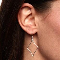 La Preciosa Sterling Silver Diamond Shape Dangle Earrings - Thumbnail 2