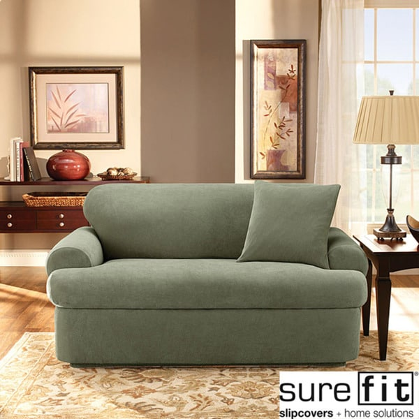 Stretch Pique 3 Piece T Cushion Loveseat Slipcover