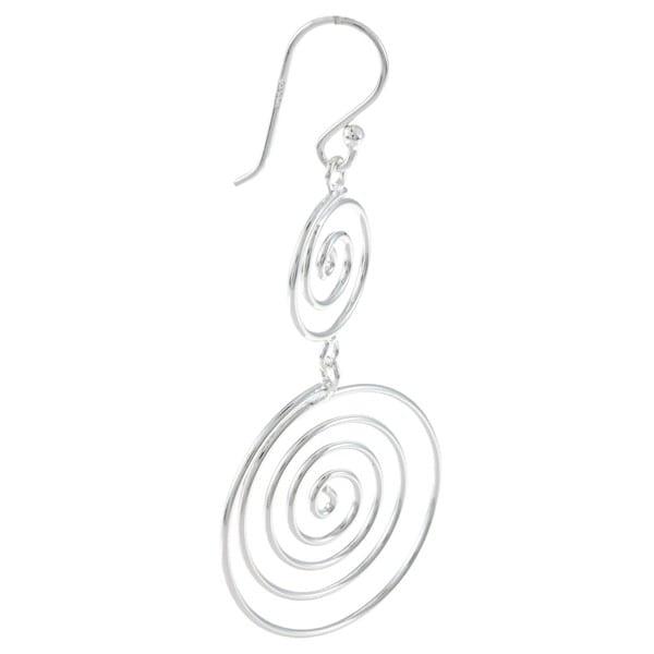La Preciosa Sterling Silver Double Swirl Dangle Earrings