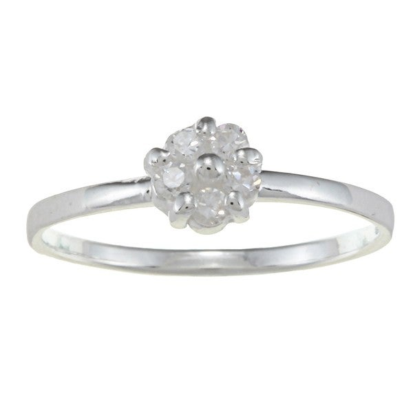Gioelli Sterling Silver Clear Cubic Zirconia Flower Baby Ring