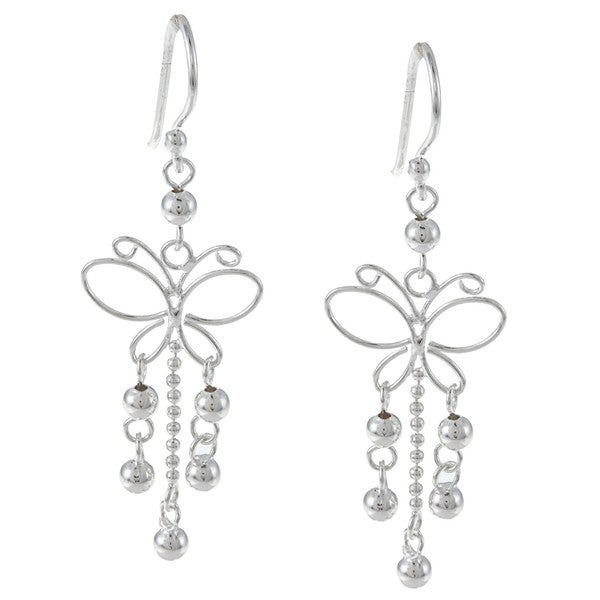 La Preciosa Sterling Silver Butterfly Beaded Earrings