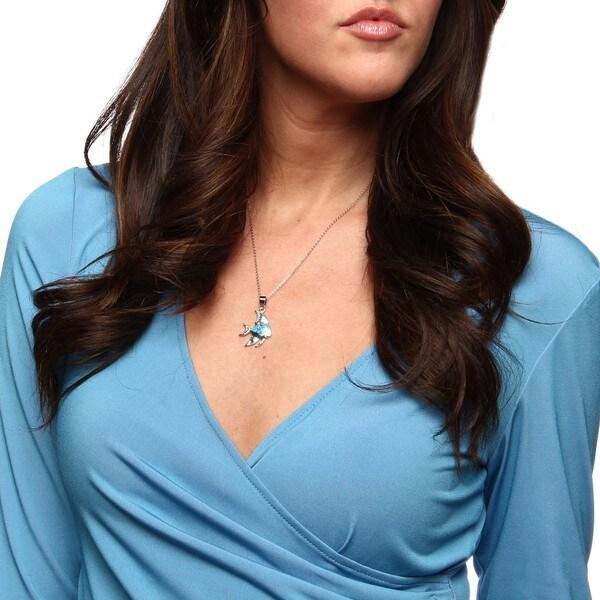 La Preciosa Sterling Silver Created Blue Opal Inlay Fish Necklace