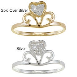 Gioelli Gold over Silver/ Sterling Silver Clear CZ Heart Crown Baby Ring