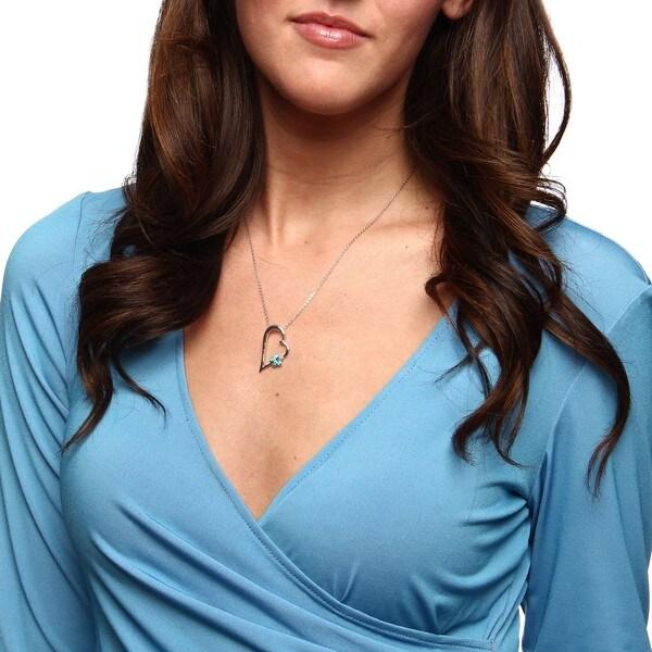 La Preciosa Sterling Silver Created Blue Opal Flower on Heart Necklace