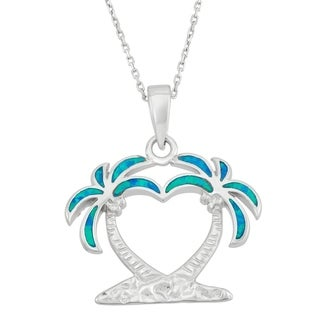 La Preciosa Sterling Silver OR Gold Plated and Blue Inlay Opal Palm Trees Necklace