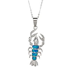 La Preciosa Sterling Silver Created Blue Opal Lobster Necklace