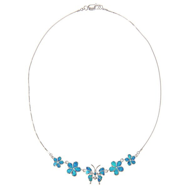 La Preciosa Silver Created Blue Opal Flower and Butterfly Necklace