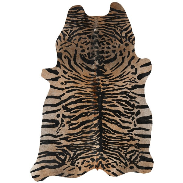 Safavieh Handpicked Hacienda Argentinian Tiger Print Cowhide Leather Rug (4' 6 x 6' 6 )