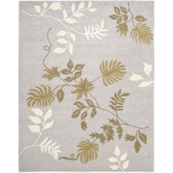 Safavieh Handmade Soho Twigs Light Grey New Zealand Wool Rug - 7'6 x 9'6 - Thumbnail 0